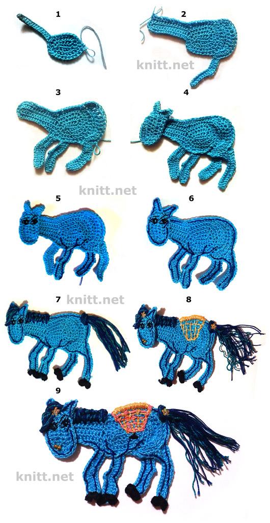 Вязаная крючком лошадка может использоваться как закладка в книгу, можно  сделать брошь или пришить к детской сумке, шапке. Так же можно повесить на елку. мастер-класс по вязанию