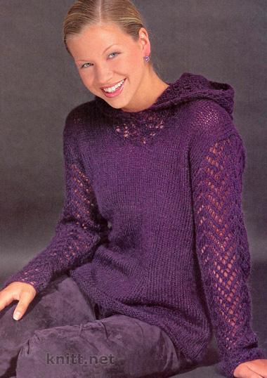 Пуловер с ажурными рукавами и