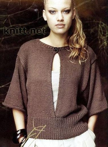 Пуловер спицами с разрезом