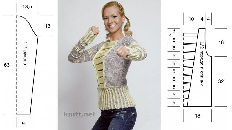 Вязаный спицами пуловер  выполнен из шерсти средней толщины серого и фисташкового цвета. Пуловер в молодежном стиле имеет необычный крой.