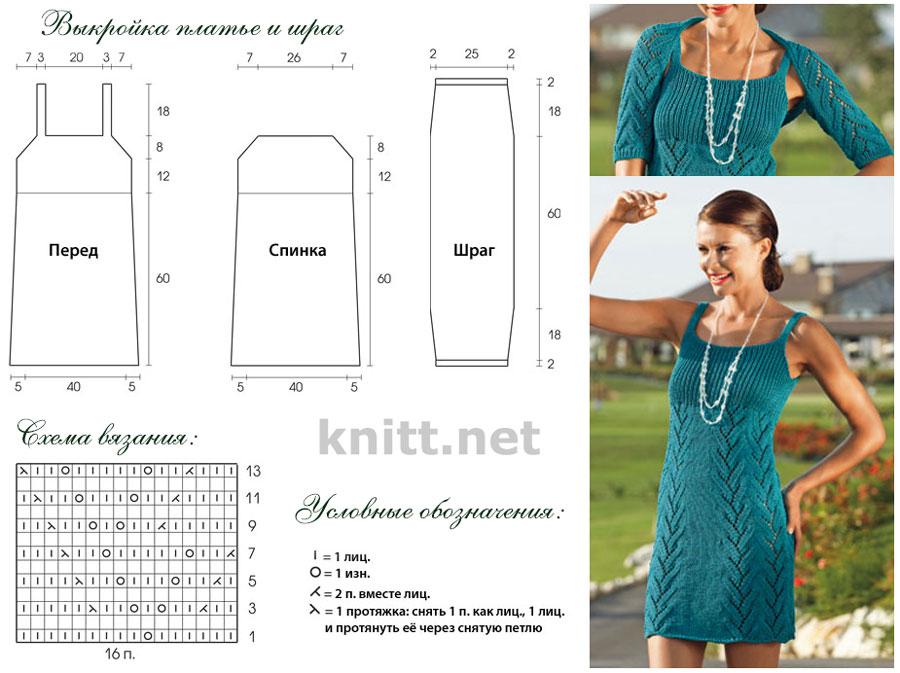 Вязаный спицами комплект выполнен из бирюзовой хлопковой пряжи. Платье можно носить как в сочетении со шрагом так и как самостоятельную вещь. Чудесный выбор для лета.