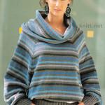 Вязаный пуловер из разноцветной пряжи