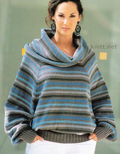 Вязаный пуловер из  разноцветной пряжи свободного кроя с объемным воротником. Выполнен спицами простыми узорами лицевой гладью и резинками 1х1 и 2х2.