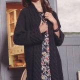 Пальто с широкими бортами (узор косы), спицами, выкройка, описание вязания, пальто, длинный жакет, взязание для осени, для зимы