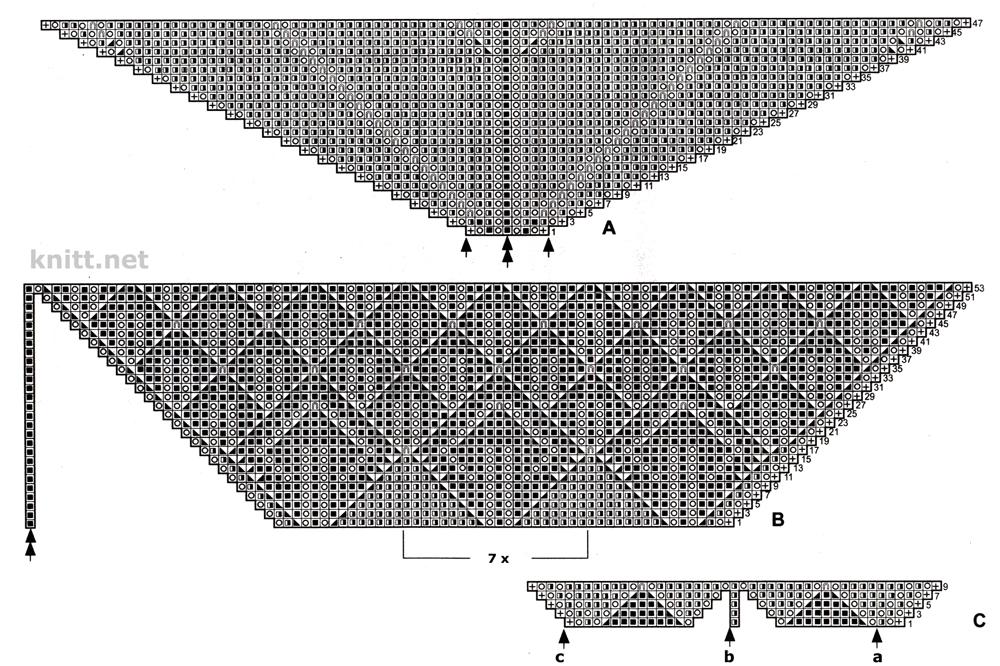 Схема вязания пуховой косынки