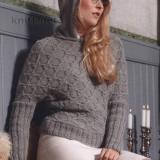 """Пуловер с рукавами """"летучая мышь"""" и капюшоном, для женщин, для зимы, для осени, для весны, спицами, рукав летучая мышь,выкройка, схема, описание вязания"""
