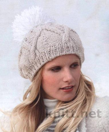 Вязаная спицами шапка с пампоном, из толстой пряжи, шапка, для зимы, спицами, вязание, шапочка, связать шапку