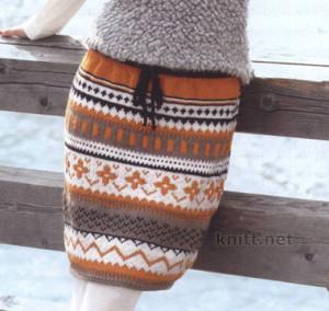 Вязаная теплая юбка с жаккардовым узором, спицами, жаккардовый узор, теплая юбка, связать юбку, описание вязания,