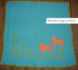 Вязаный плед для малыша с лошадками, вязание спицами, цветочки крючком, плед, вязание для детей