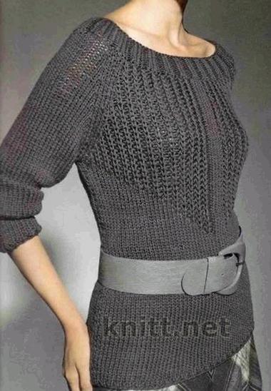 Пуловер с патентным узором выполнен из серой пряжи средней толщины в состав которой входит шелк и шерсть. Пуловер смотрится современно и молодежно, а так же женственно и стильно. Отличный выбор для весны и теплой осени.