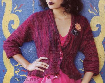 Вязаный спицами жакет (связано поперек), спицами, вязание для женщин, описание вязания, жакет, поперечное вязание, выкройка, схема, вязаный узор с вытянутыми петлями,