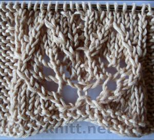 """Вязаный узор """"Листочки"""", описание вязания, схема узора Листочки, условные обозначения, вязание спицами, ажурный узор"""
