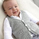 Вязаный жилет для ребенка, вязание для детей, спицами, связать детскую жилетку, жилет для малыша, рисовая вязка,1 /3 - 6/9 - 12/18 месяцев (2 - 3/4) года,