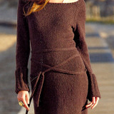 коричневое платье спицами