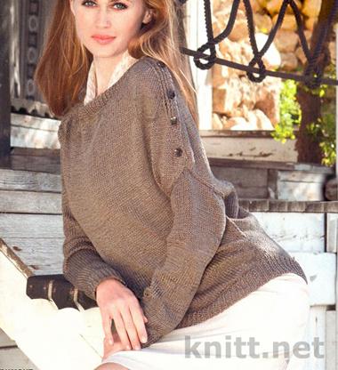 Пуловер с асимметричными рукавами