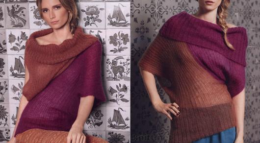 Двухцветный асимметричный джемпер выполнен спицами для женщин. Модная драпировка придаст объем вашему образу.