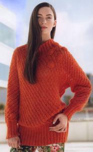 Яркий оранжевый пуловер с ажурным полупрозрачным узором