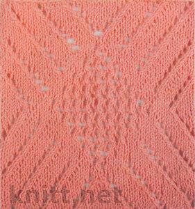 Образец вязания спицами - объемные ромбы.