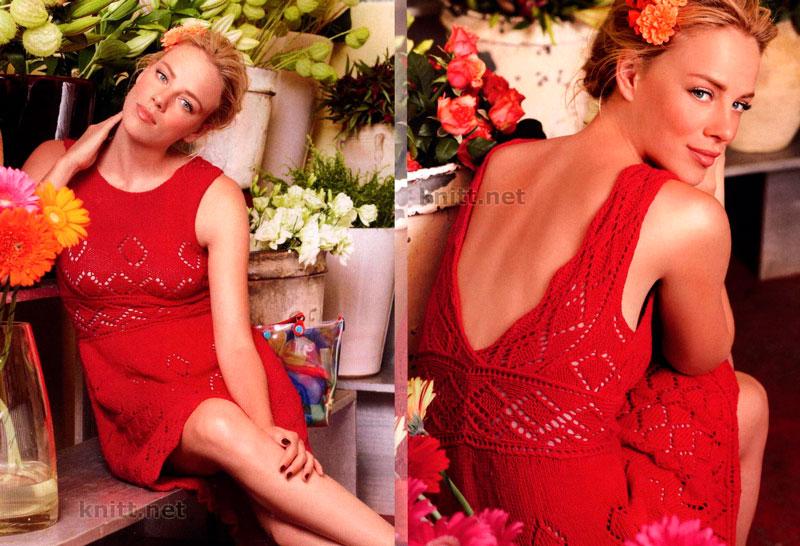 Красное ажурное платье спицами