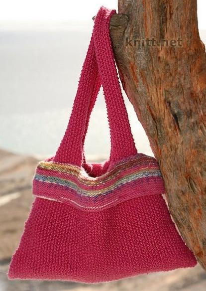 Вязаная летняя сумка спицами