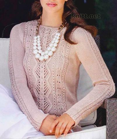 Летний ажурный пуловер из шелковой пряжи