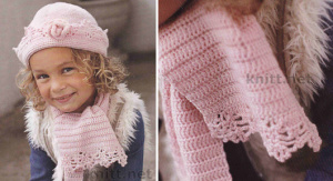 Шапочка и шарф для девочки 2-8 лет