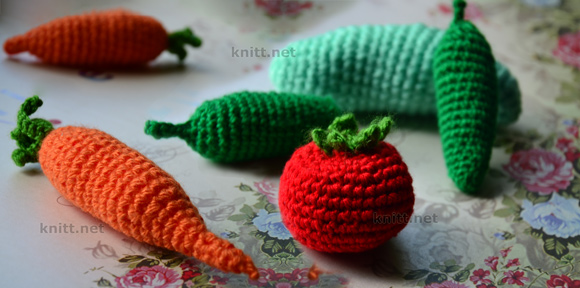 Вязаные овощи, ягоды, грибы, фрукты (крючком)