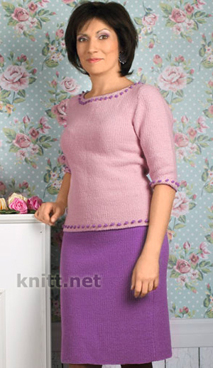 Вязаный комплект спицами (кофта и юбка)