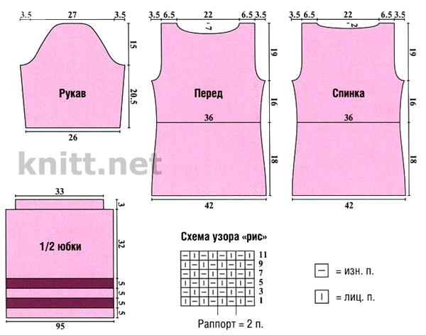 Вязаный комплект спицами (кофта и юбка), схема вязания и выкройки
