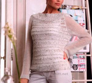 Ажурный пуловер из мохера с шелком и люрекса