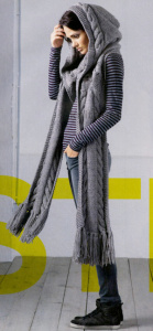 Длинный серый шарф с капюшоном