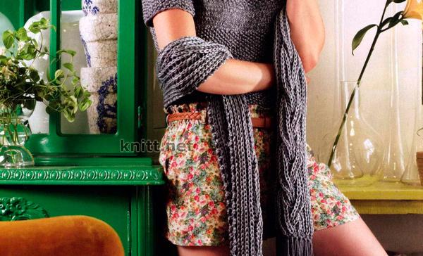 Объемный шарф из серо-серебряной пряжи