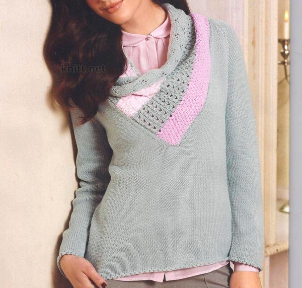 Пуловер с объемным воротником
