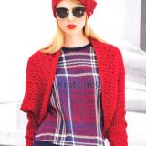 Шикарный красный комплект: болеро и шляпка