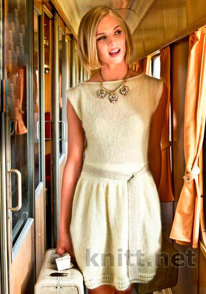 Красивое платье спицами (юбка-тюльпан)