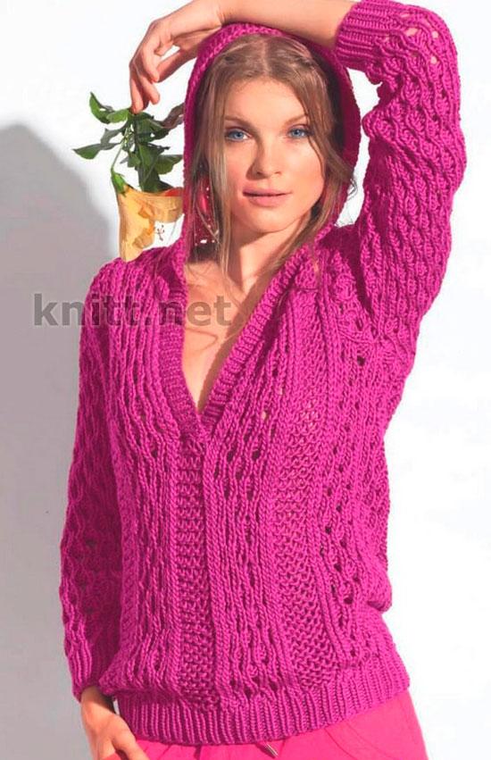 Пуловер цвета фуксии с ажурным