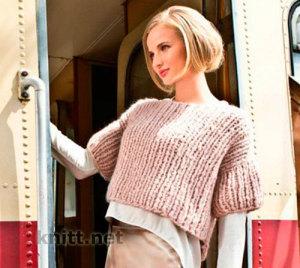 Пуловер из супертолстой пряжи
