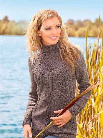 Удлиненный пуловер с аранами
