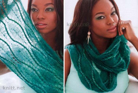 Ажурный, тонкий шарф-снуд