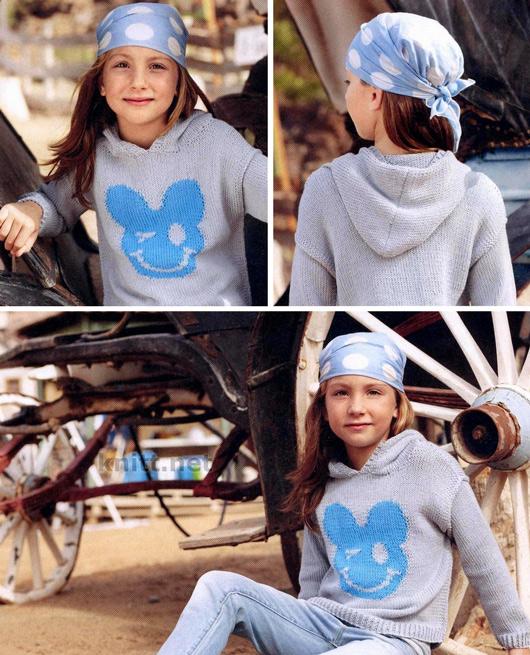 Детский пуловер - худи с капюшоном