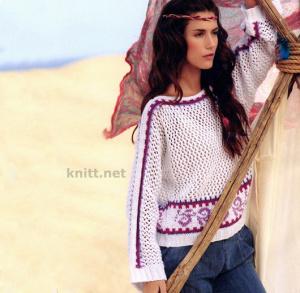 Пуловер с жаккардовым русунком и сетчатым узором