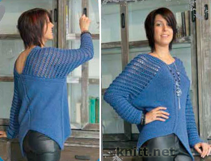 Пуловер туника с ажурными рукавами