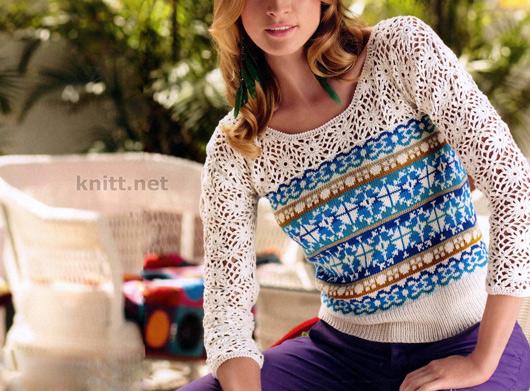 Пуловер в разных техниках