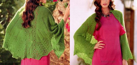 Зеленая ажурная шаль