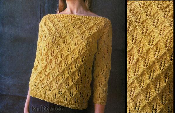Пуловер желтого цвета