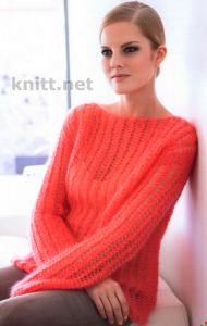 Ажурный пуловер из тонкой пряжи