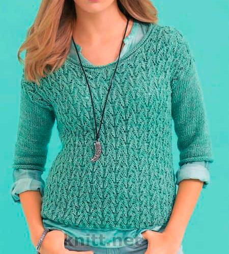 Ажурный вязаный пуловер с короткими рукавами