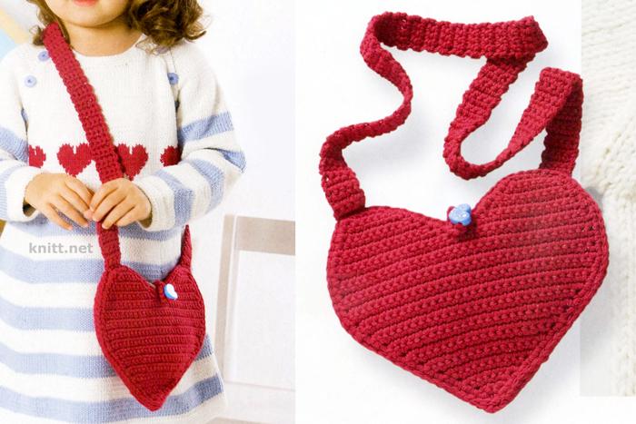 """Детская сумка """"Сердечко"""" крючком"""
