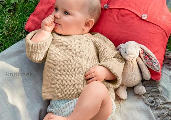 Двубортный жакет для малыша (платочная вязка)