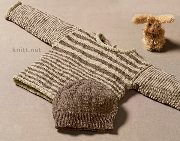 Комплект для малыша: шапочка и пуловер в полоску